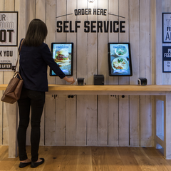 Customer order kiosk at Famous Fish