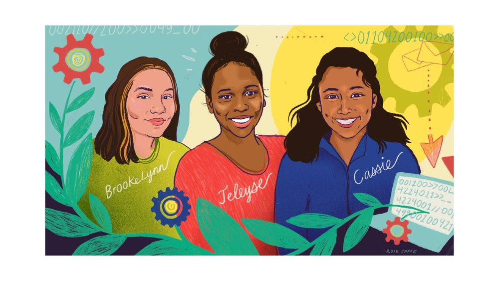 Illustration of three young women with their names written on their shirts: Brookelynn, Jeleyse and Cassie.