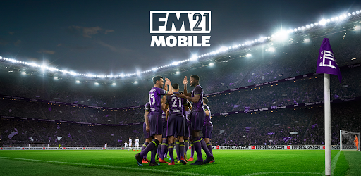 Football Manager 2021 Mobile with football players in purple jerseys, also soccer players, on a pitch, also a field, in front of fans ready to win.