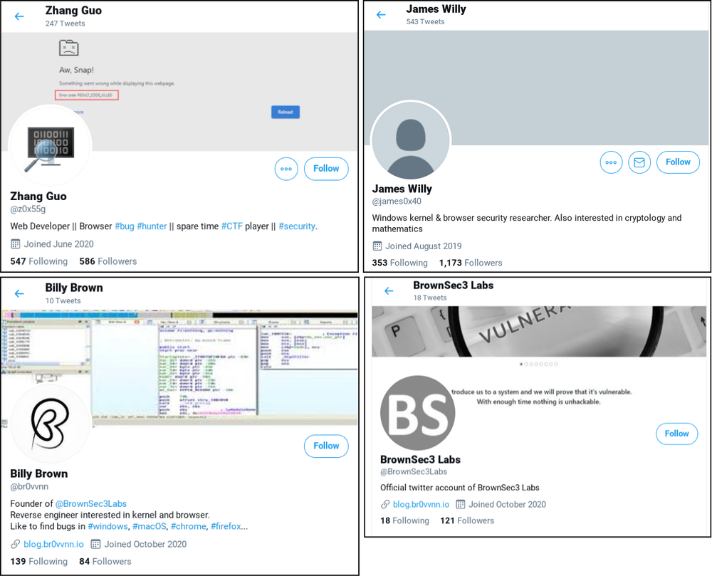 A screenshot of 4 actor controlled Twitter profiles: @z0x55g, @james0x40, @br0vvnn and @BrownSec3Labs