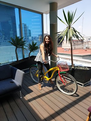 Ana on a Google bike.