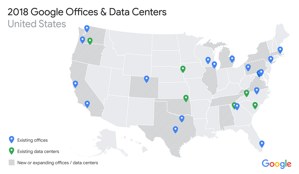 Google offices and data centers 2018