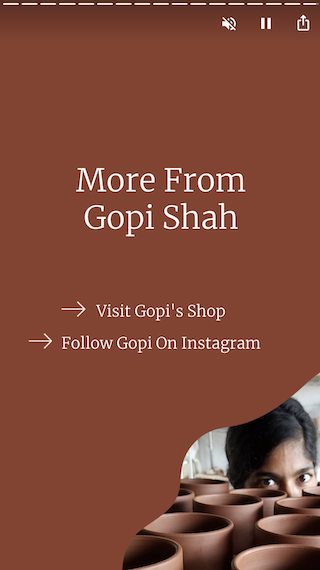 The final screen of Gopi's story with links to her website and social media