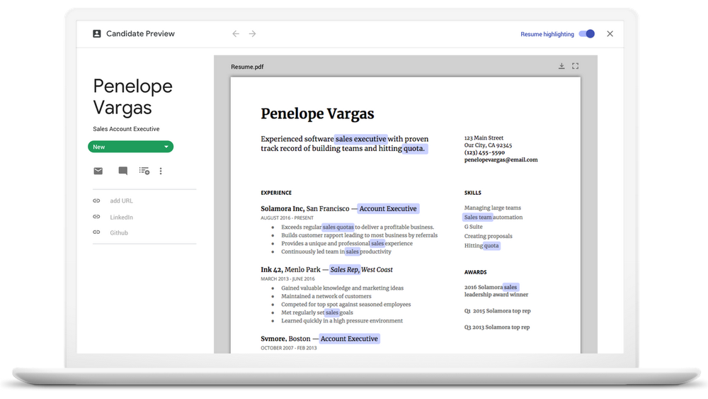 G Suite Hire - Auto-highlight Resumes