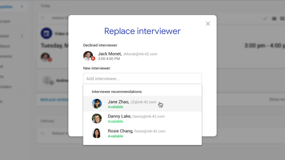 G Suite Hire - Replace Interviewer