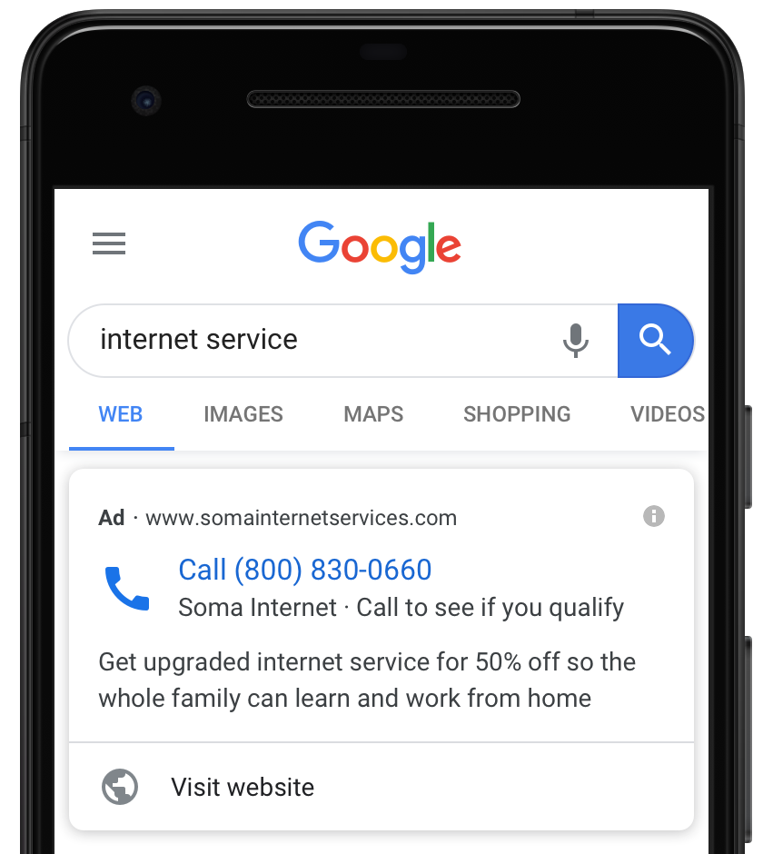 "Screenshot of a call ad featuring an optional ""Visit website"" link."