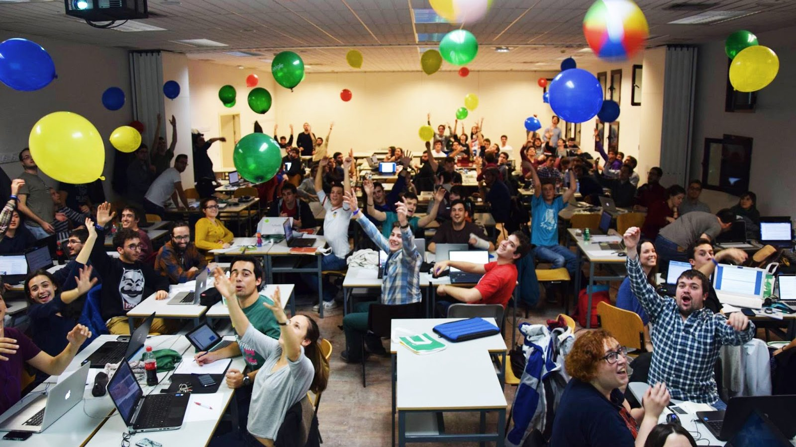 Students compete in the Online Qualification Round in February 2016 from a hub at Universidad Carlos III de Madrid in Spain