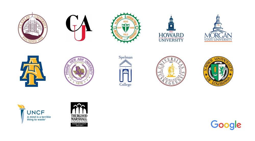 Logos for Claflin University (SC), Clark Atlanta University (GA), Florida A&M University (FL), Howard University (DC), Morgan State University (MD), NC A&T State University (NC), Prairie View A&M University (TX), Spelman College (GA), Tuskegee University (AL), Xavier University (LA), UNCF and Thurgood Marshall College Fund