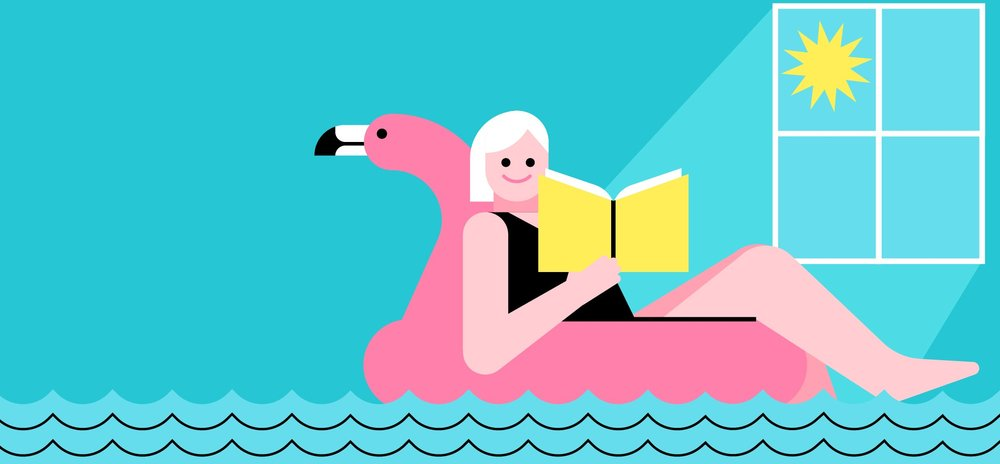 Illustration of a person in a flamingo pool floatie reading a book.