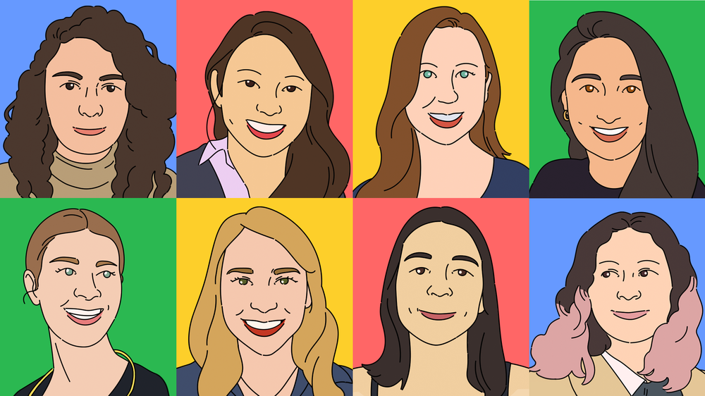 An illustrated collage of eight women's faces with colorful backgrounds.