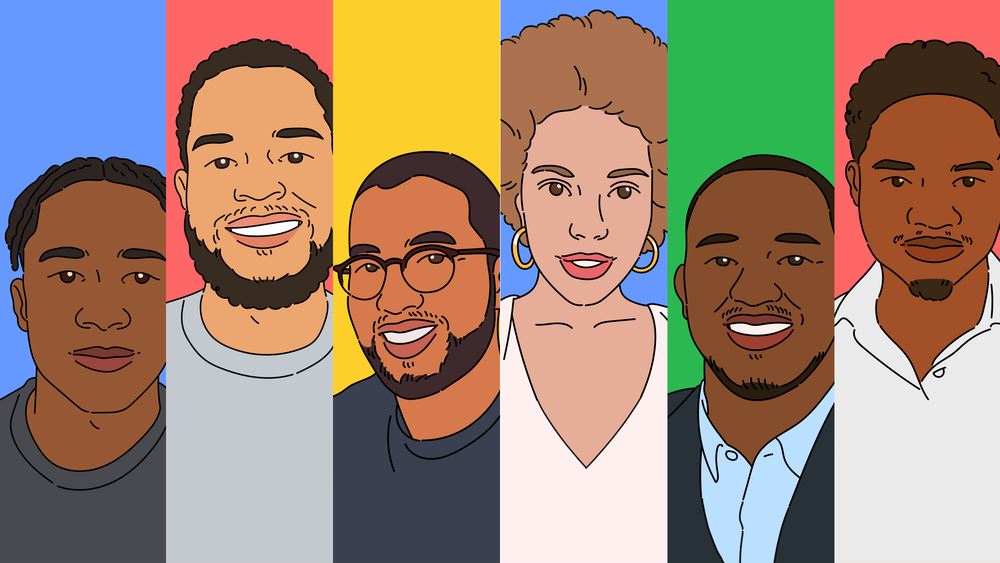 An illustration of six Black entrepreneurs in front of colorful backgrounds