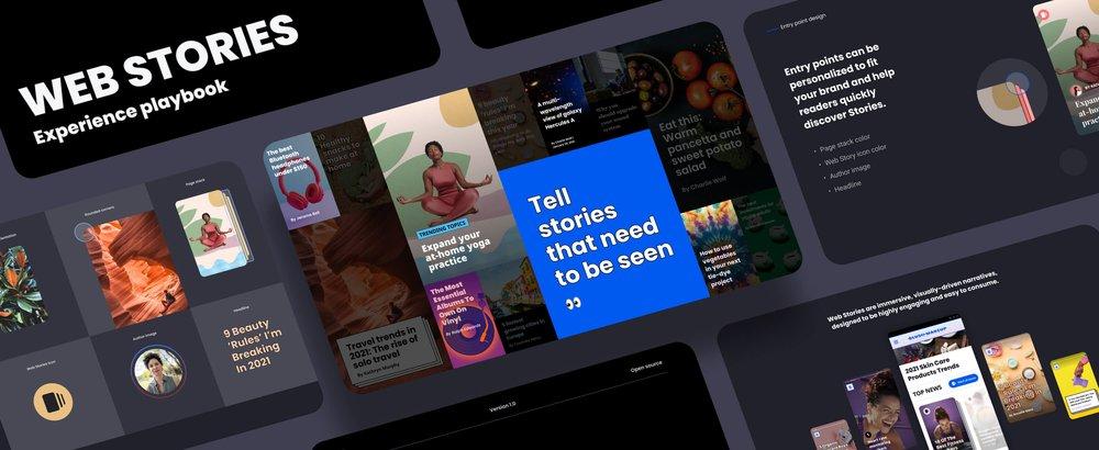 Screenshots of Web Story design elements