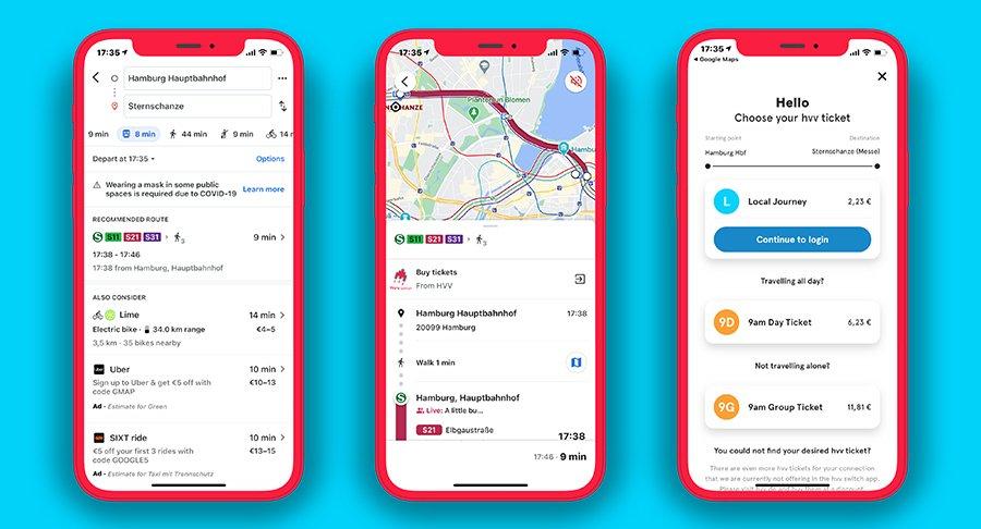 Drei Smartphones zeigen die Google Maps Anwendung mit einer Streckenauswahl des HVV