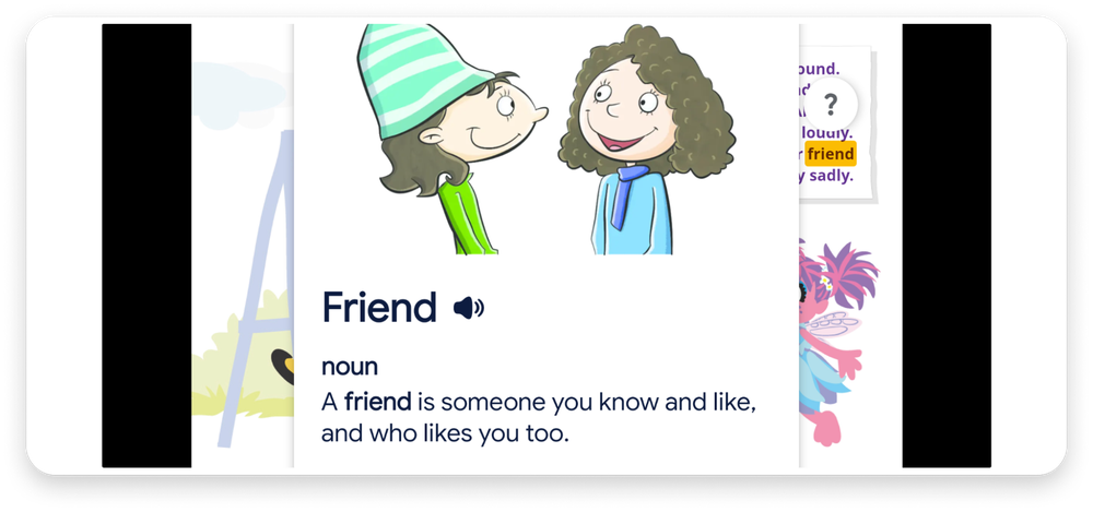 "Kid-Friendly Dictionary defining the word ""Friend"" for kids, with an illustration of two children talking."