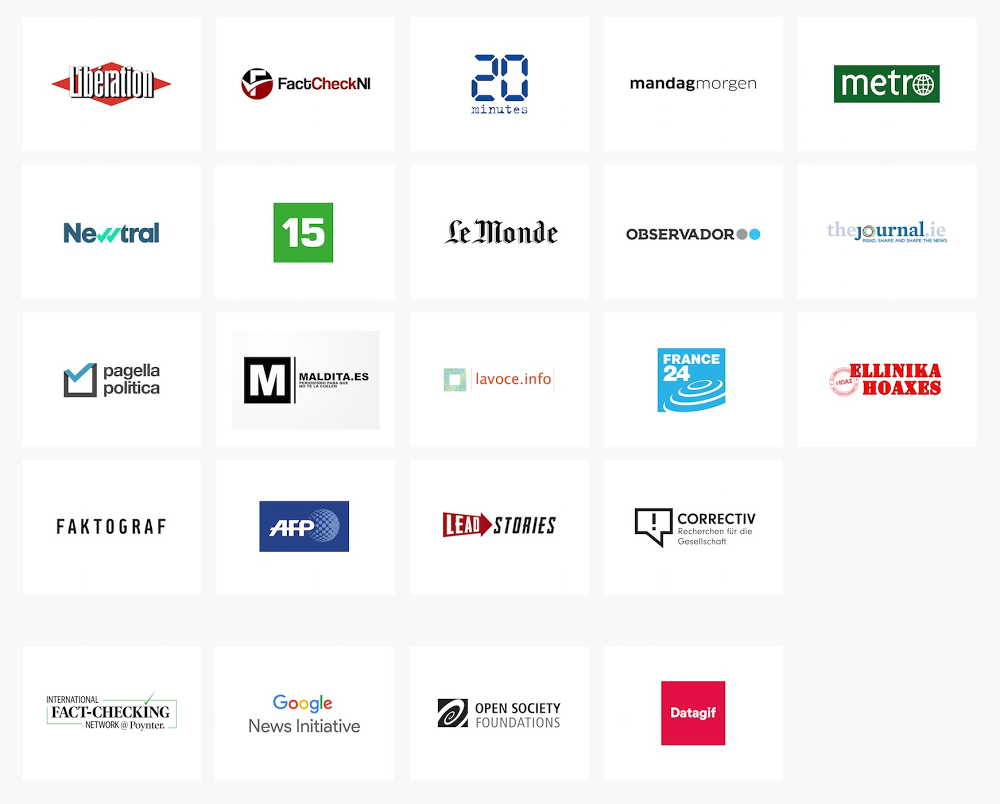 A grid of logos of 19 European news outlets.