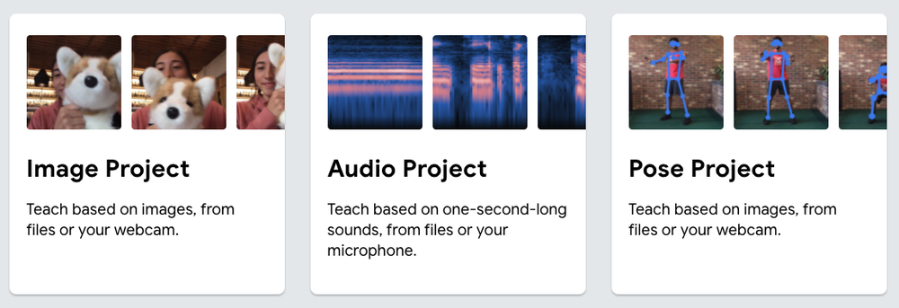 Screenshot of three projects you can use teachable machine to do: image project, audio project, or pose project.