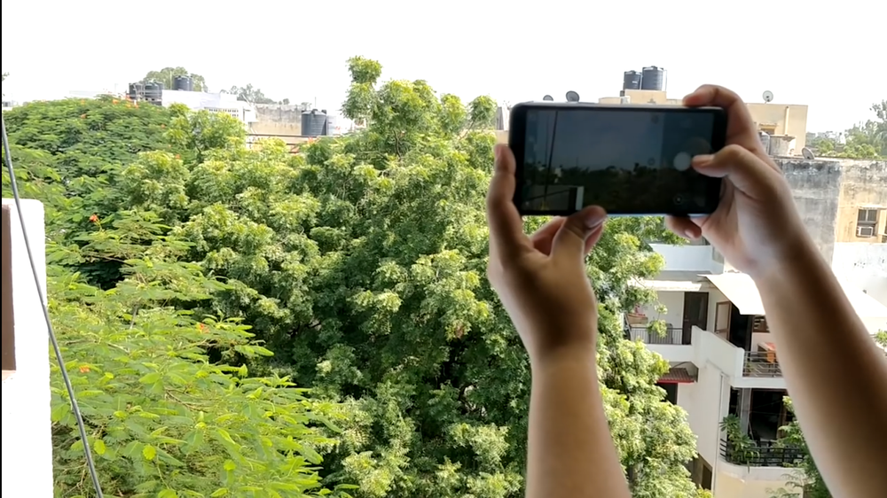 Photo shows a person holding out their smartphone against a landscape of green trees to analyze air quality.