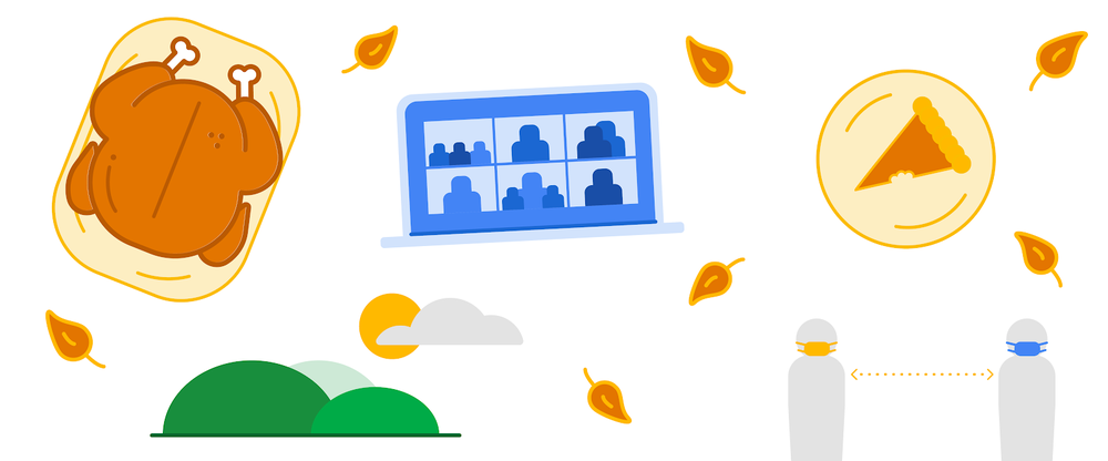 Illustration of turkey, pie and a laptop with video chat