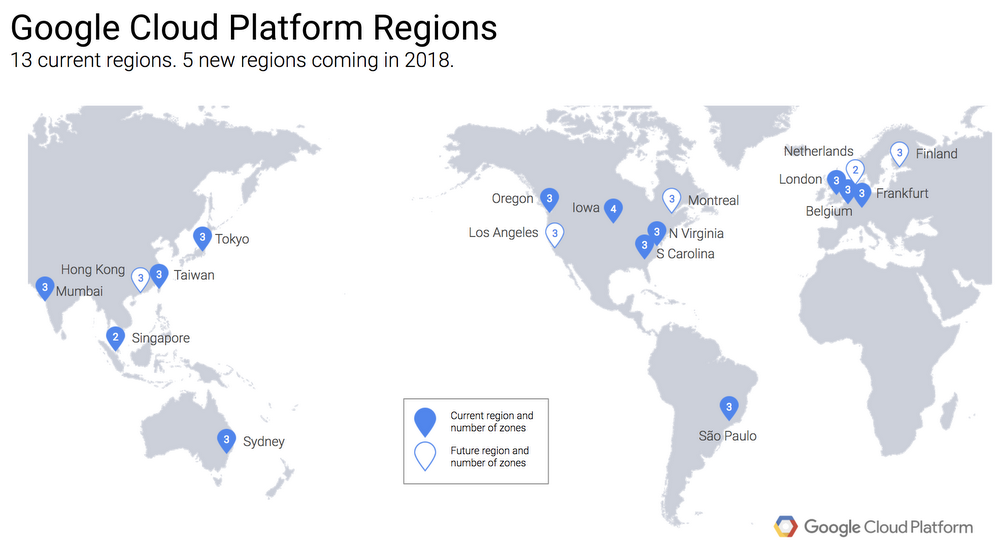 Figure 1. Diagram shows existing GCP regions and upcoming GCP regions