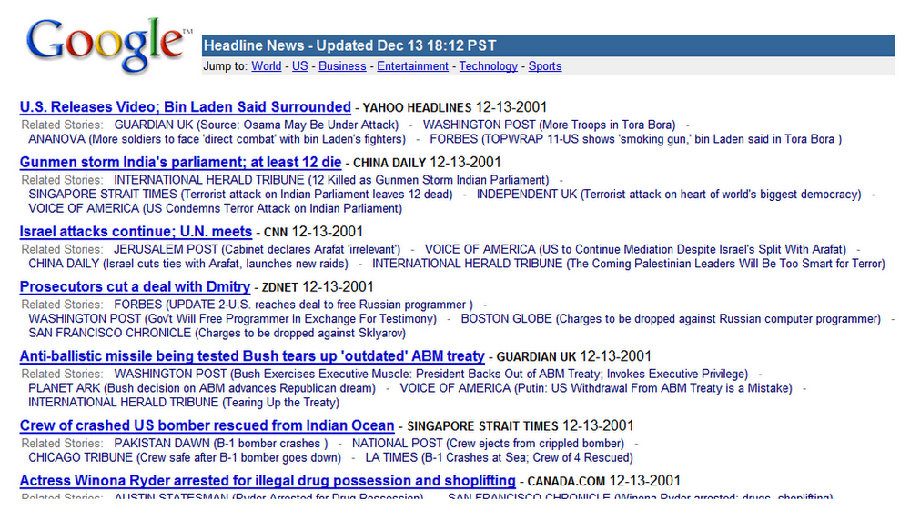 internal test of google news dec 2001