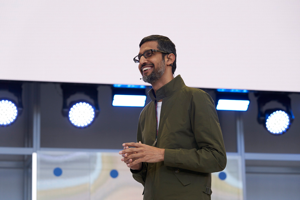 Sundar Pichai delivers last year's keynote at I/O.