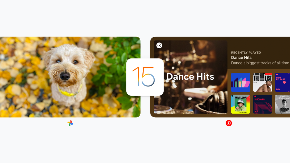 """XL iPad widgets featuring a dog in Google Photos and a """"Dance Hits"""" playlist in YouTube Music."""