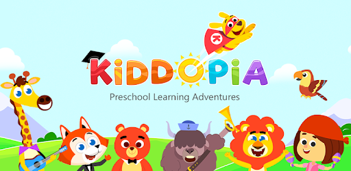 Kiddopia Preschool Learning Adventures mobile game with cartoon characters in a bright and sunny world, featuring a giraffe, fox, bear, ox or yak, lion, parrot, dog with a cape and a human with maracas.