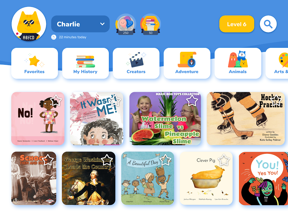 A screenshot of the Rivet app, showing a library collection of books to choose from