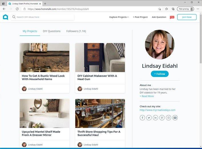 Lindsay Eidahl's profile page on Hometalk