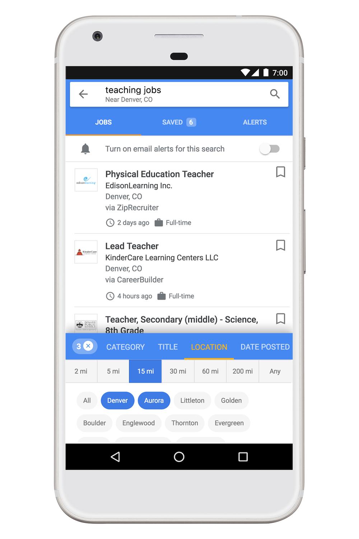 De meilleures localisations des emplois dans Google for Job