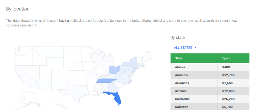 political advertising transparency report locations
