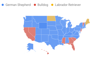 Map showing regional interest in German Shepherds, Bulldogs and Labrador Retrievers.