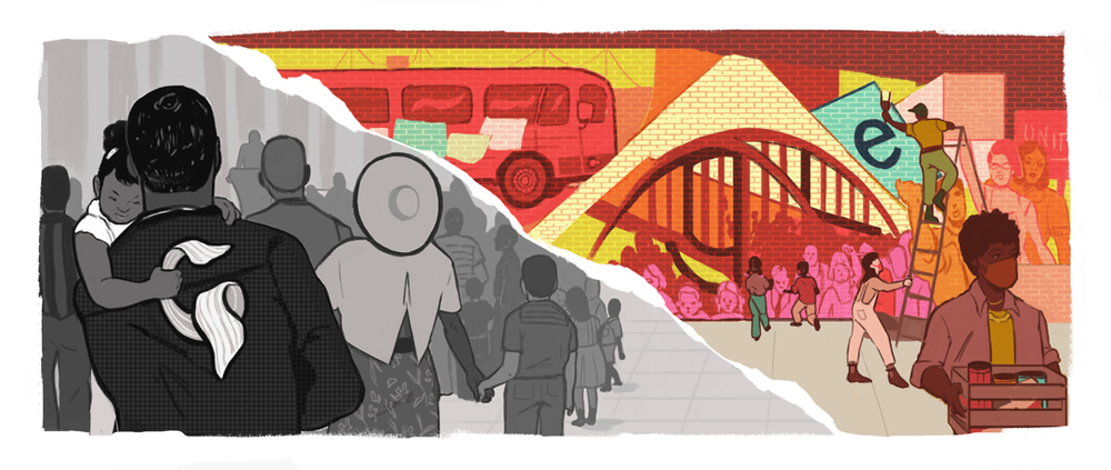 A Google Doodle showing half a black and white painting of a Civil Rights Movement-era speech, and a color painting of a modern-day protest mural.