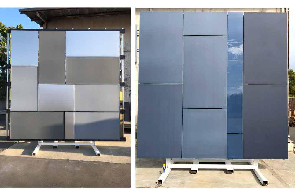 Two examples at our R+D Lab of exploring how to add photovoltaics on facades: rearranging standard solar panels into more visually interesting mosaics (left) and integrating solar into standard window framing (right).