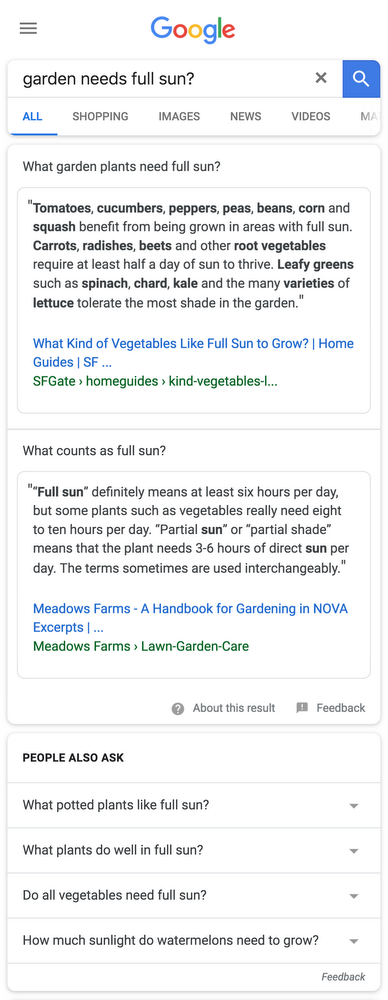 Multifaceted featured snippet