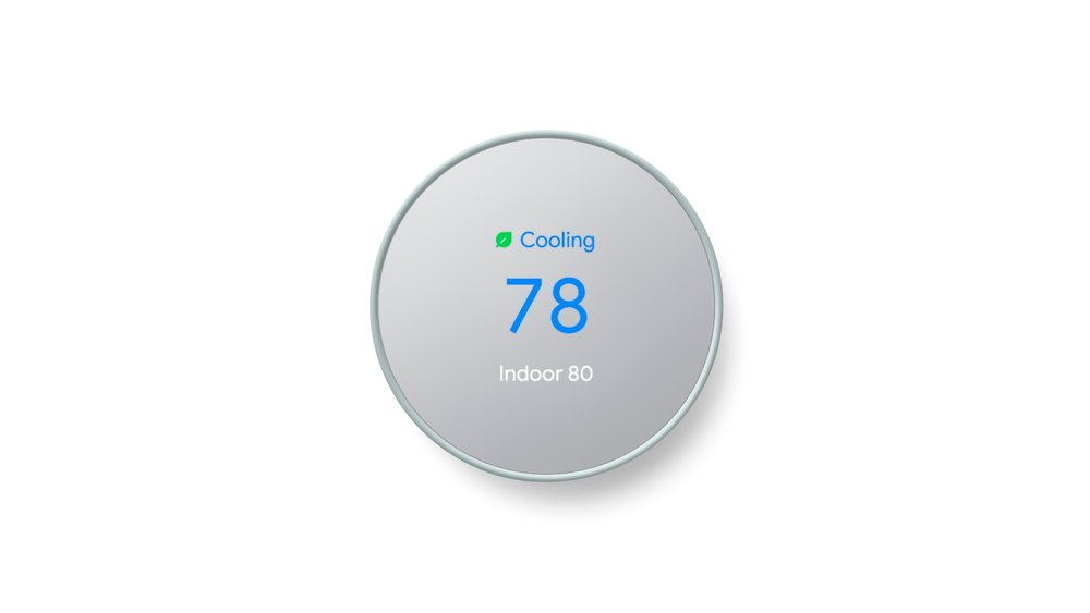 Image showing a Nest Thermostat turned to 78 degrees with the eco-savings green leaf icon.
