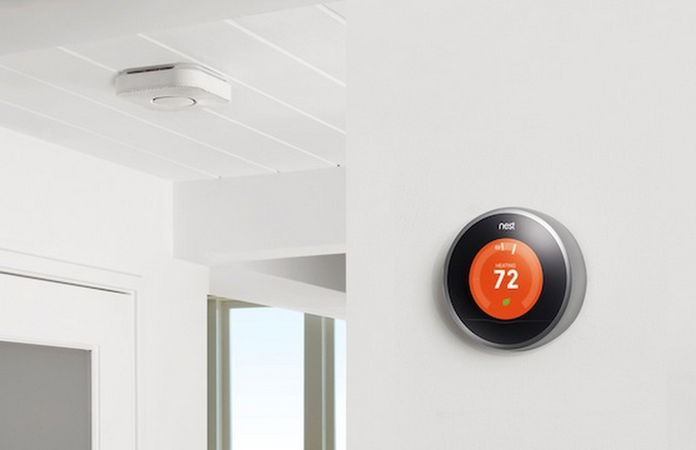 The Nest Protect smoke and carbon monoxide alarm connects to your Nest Thermostat
