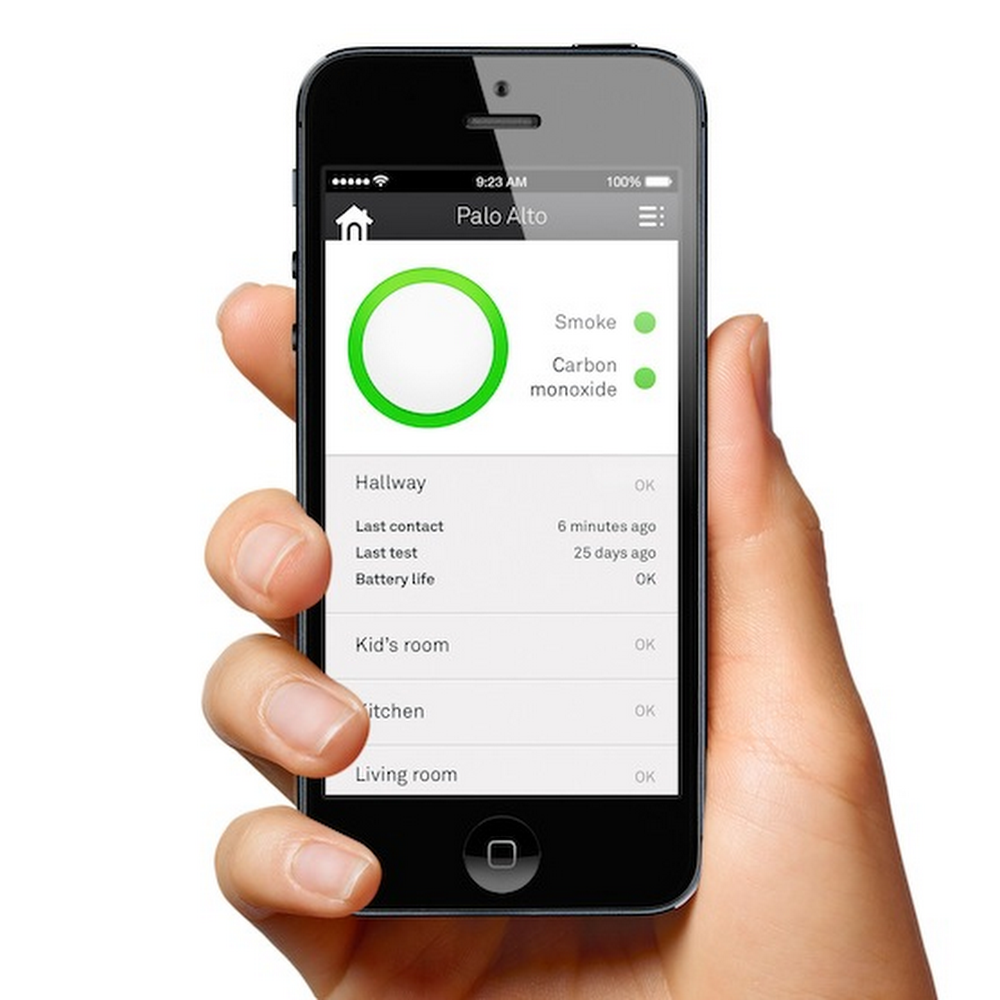 The Nest Protect smoke and carbon monoxide alarm lets you check battery and sensor status