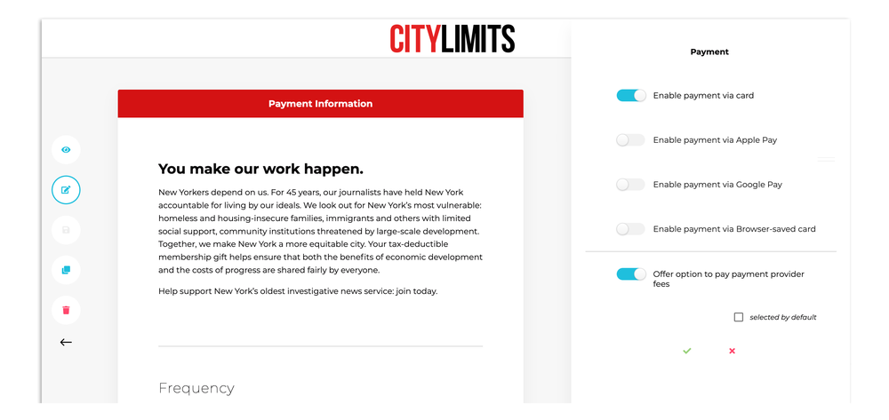 A screengrab of the page editing interface, showing a City Limits fundraising webpage.