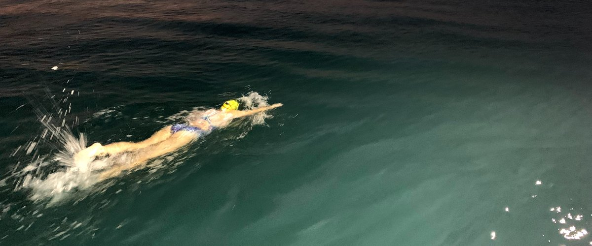 Olivia Lavin swimming across the English Channel