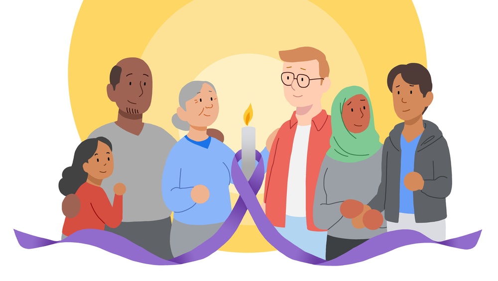 A purple ribbon with a candle at the center weaves through a diverse group of people supporting each other.