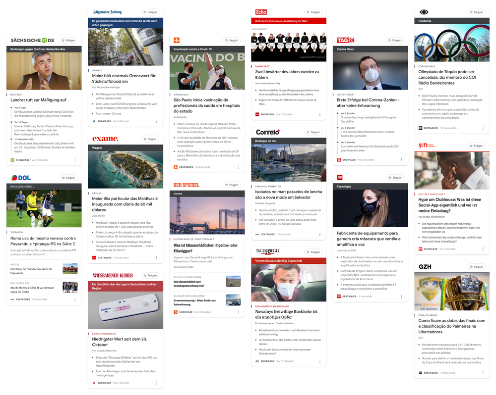 Panels on Google News Showcase from news outlets in Brazil and Germany.