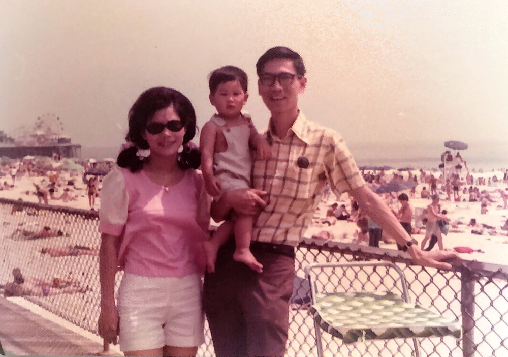 Photo of a young Marvin Chow and his parents.