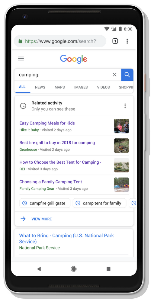 Your Google Search history will now appear in related new