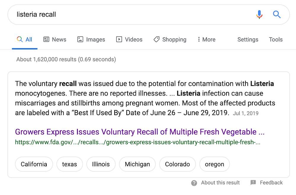 Listeria recall - before