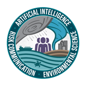 AI2ES logo, an illustration of people and various weather conditions