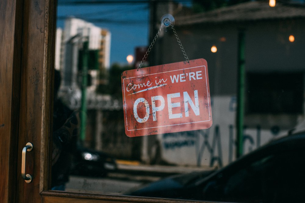 Image of an open sign on a business