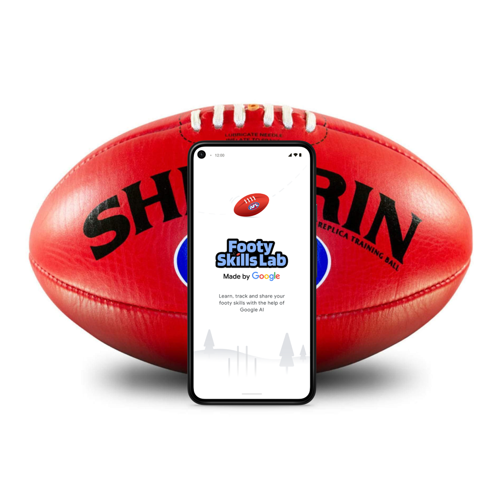 A graphic showing a phone with the Footy Skills Lab app open, in front of a Sherrin football.