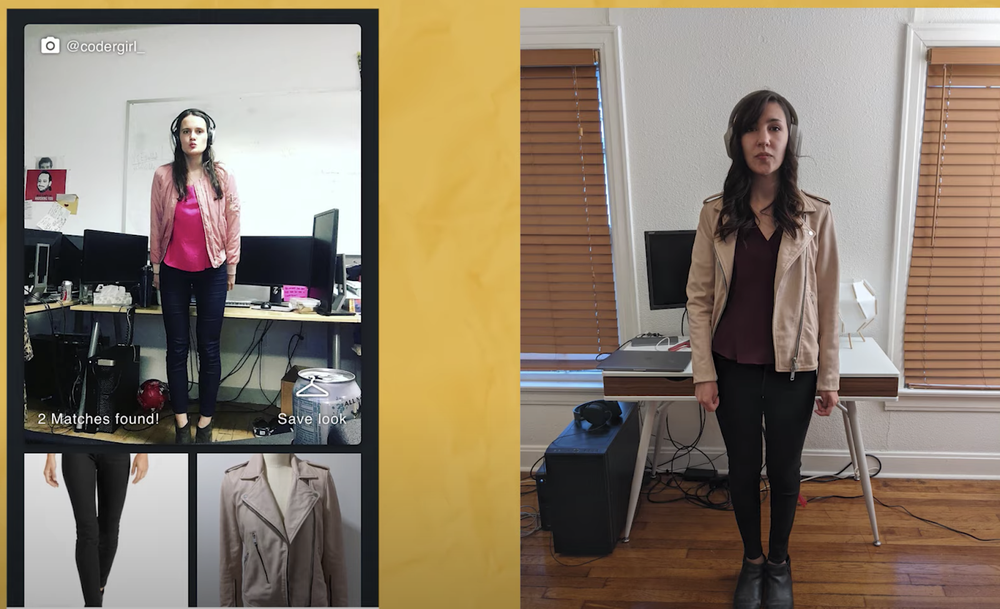 Image showing two screens; on the left, a woman is standing in a room wearing a fashionable outfit with the items that make up that outfit in two panels below her. In the other is another woman, wearing a similar outfit.