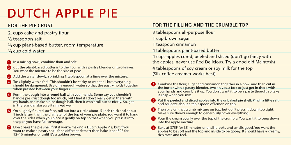 Dutch Apple Pie recipe card, with the following recipe: FOR THE PIE CRUST 2. cups cake and pastry flour ½ teaspoon salt ⅔ cup plant-based butter, room temperature ⅓ cup cold water  FOR THE FILLING AND THE CRUMBLE TOP 3 tablespoons all-purpose flour 1 cup brown sugar 1 teaspoon cinnamon 4 tablespoons plant-based butter 4 cups apples cored, peeled and sliced (don't go fancy with the apples, never use Red Delicious. Try a good old McIntosh) 4 tablespoons of soy cream or soy milk for the top (Silk coffee creamer works best)   FOR THE PIE CRUST In a mixing bowl, combine flour and salt. Cut the plant-based butter into the flour with a pastry blender or two knives. You want the mixture to be the size of peas. Add the water slowly, sprinkling 1 tablespoon at a time over the mixture. Toss lightly with a fork. This shouldn't be sticky or wet at all but everything should be dampened. Use only enough water so that the pastry holds together when pressed between your fingers. Form the dough into a round ball with your hands. Some say you shouldn't handle pie crust dough too much, but I find if I don't really get in there with my hands and make a nice dough ball, then it won't roll out as nicely. So, get in there and make sure it's mixed well. On a lightly floured surface, roll out into a circle about ⅛ inch thick and about 1 inch larger than the diameter of the top of your pie plate. You want it to hang over the sides when you place it gently on top so that when you press it into the pan you have full coverage. Don't bake the pie shell first if you're making a Dutch Apple Pie, but if you want to make a pastry shell for a different dessert then bake it at 450F for 12–15 minutes or until it's a golden brown.  FOR THE FILLING AND THE CRUMBLE TOP Combine the flour, sugar and cinnamon together in a bowl and then cut in the butter with a pastry blender, two knives, a fork or just get in there with your hands and crumble it up. You don't want it to be a paste though, so take it easy whe